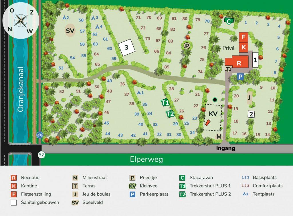 Stellplatzplan des Campingplatzes